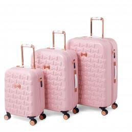 Beau Small 4 Wheel Trolley Cabin Case Pink