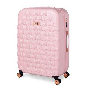Beau Large 4 Wheel Trolley Suitcase Pink