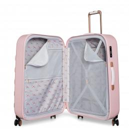 Beau Large 4 Wheel Trolley Suitcase Pink