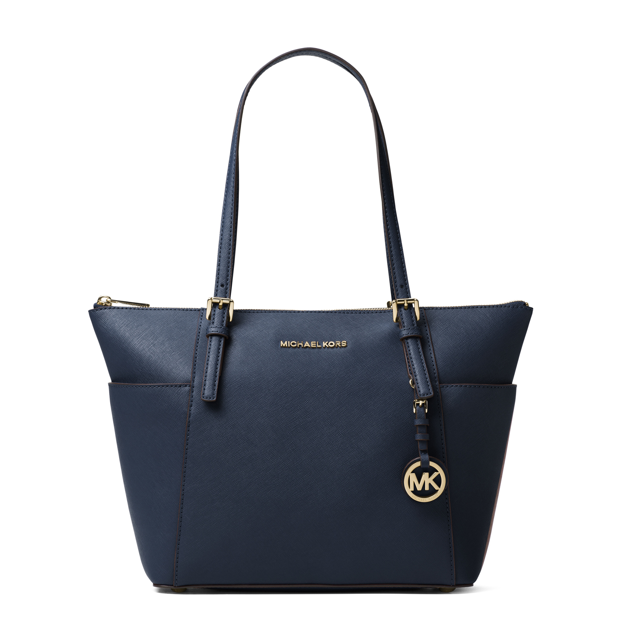 Jet Set Top-Zip Saffiano Leather Tote ADMIRAL