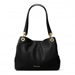 Raven Large Leather Shoulder Bag BLACK
