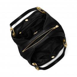 Raven Large Leather Shoulder Bag BLACK