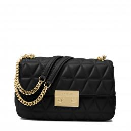Sloan Large Quilted-Leather Shoulder Bag BLACK