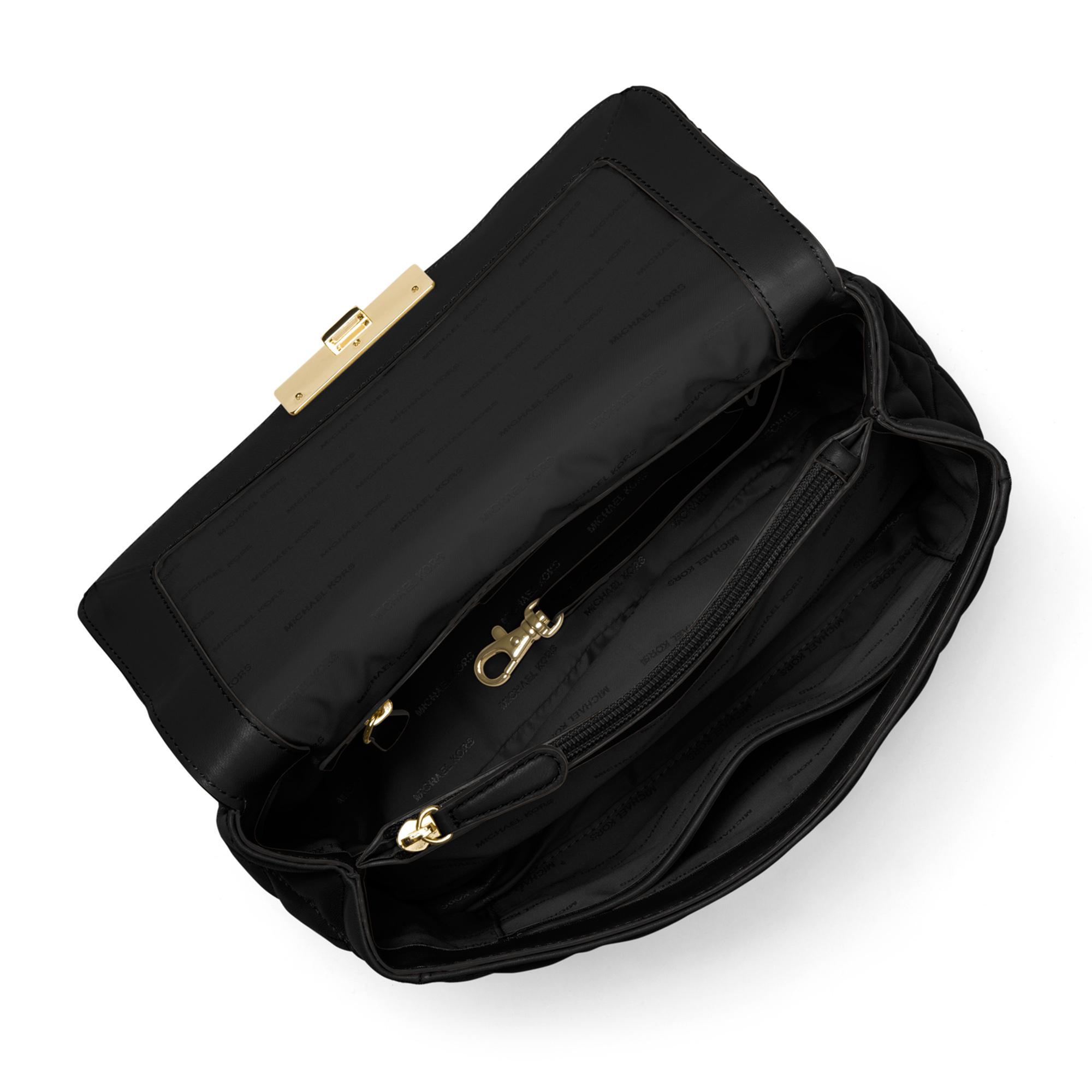 Sloan Large Quilted-Leather Shoulder Bag BLACK