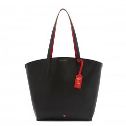 BLACK GRAINY LEATHER AGNES TOTE BAG