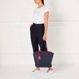 NAVY GRAINY LEATHER AGNES TOTE BAG