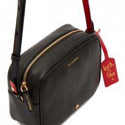 BLACK GRAINY LEATHER PATSY CROSSBODY BAG