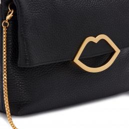 BLACK GRAINY LEATHER CUT OUT LIP ISSY CLUTCH