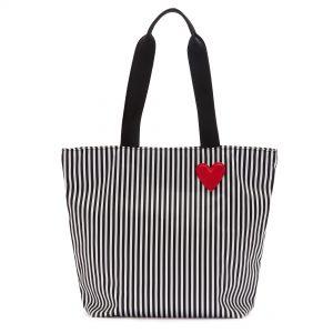 BLACK/CHALK/CLASSIC RED HEART & STRIPES BEA TOTE BAG