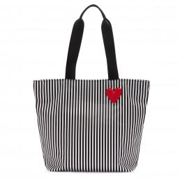 BLACK/CHALK/CLASSIC RED HEART & STRIPES BEA TOTE BAG