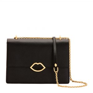 BLACK CUT OUT LIP POPPY CROSSBODY BAG