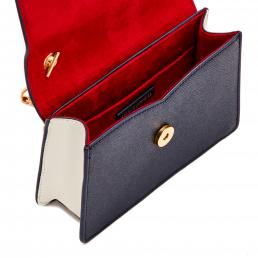 NAVY/CLASSIC RED/OYSTER LIP PUSH LOCK POLLY CLUTCH