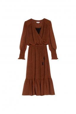 SUNCOO CALIXTE LEOPARD PRINT WRAP DRESS