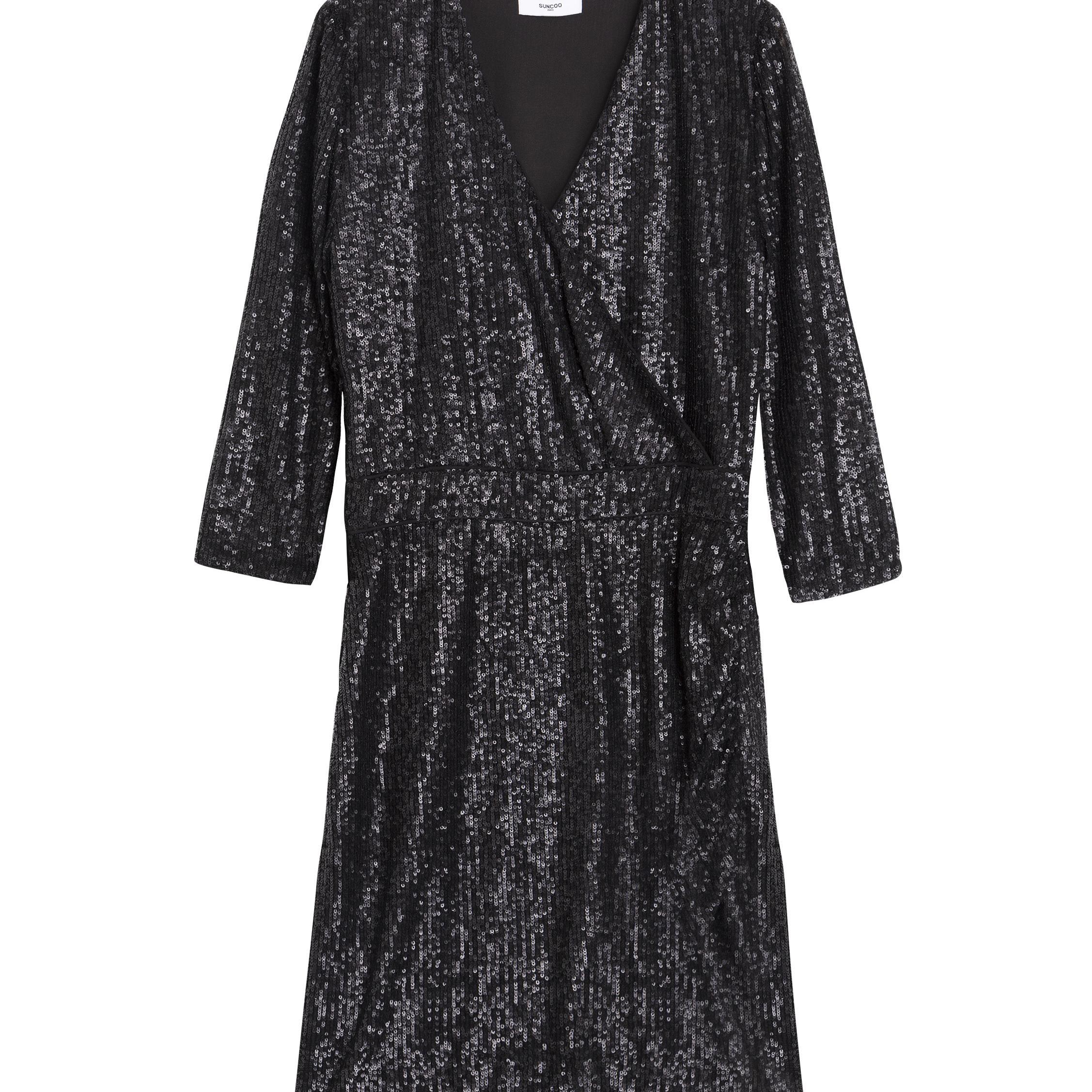 SUNCOO CAITLYN SEQUIN WRAP DRESS