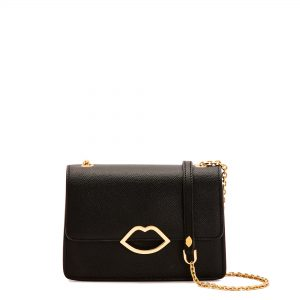 Black Leather Cut Out Lip Polly