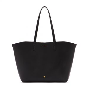 Black Leather Crossgrain Ivy Tote Bag
