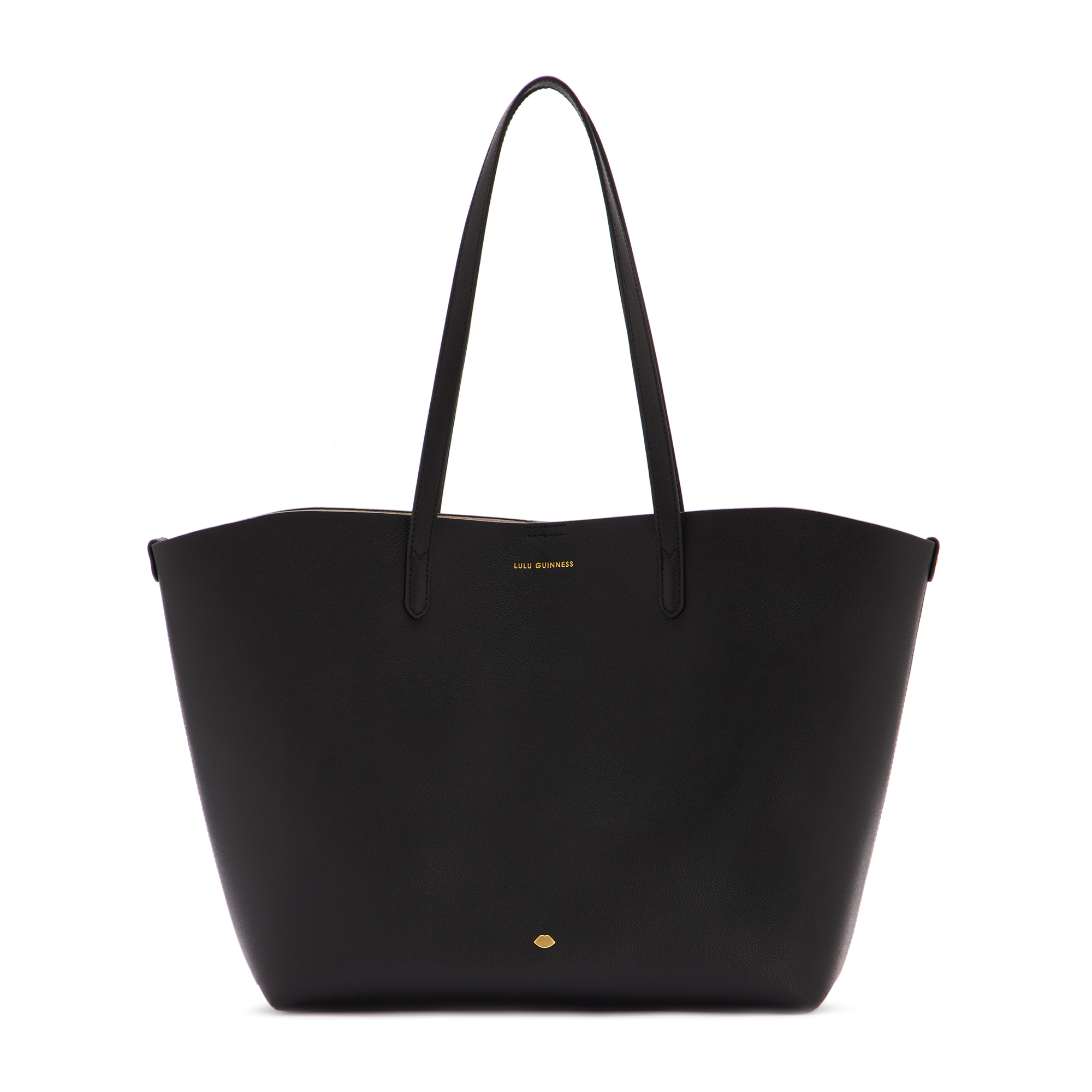 Black Leather Crossgrain Ivy Tote Bag
