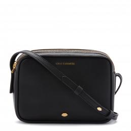 Black Leather Lip Pin Cole Crossbody Bag