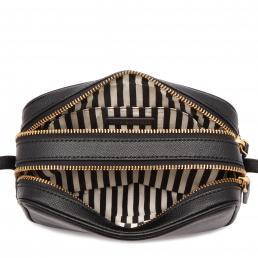 Black Leather Lip Pin Cole Crossbody Bag