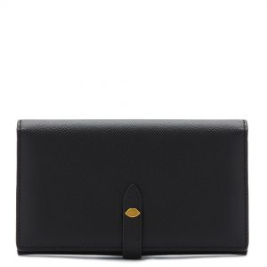 Black Leather Lip Pin Juno Wallet