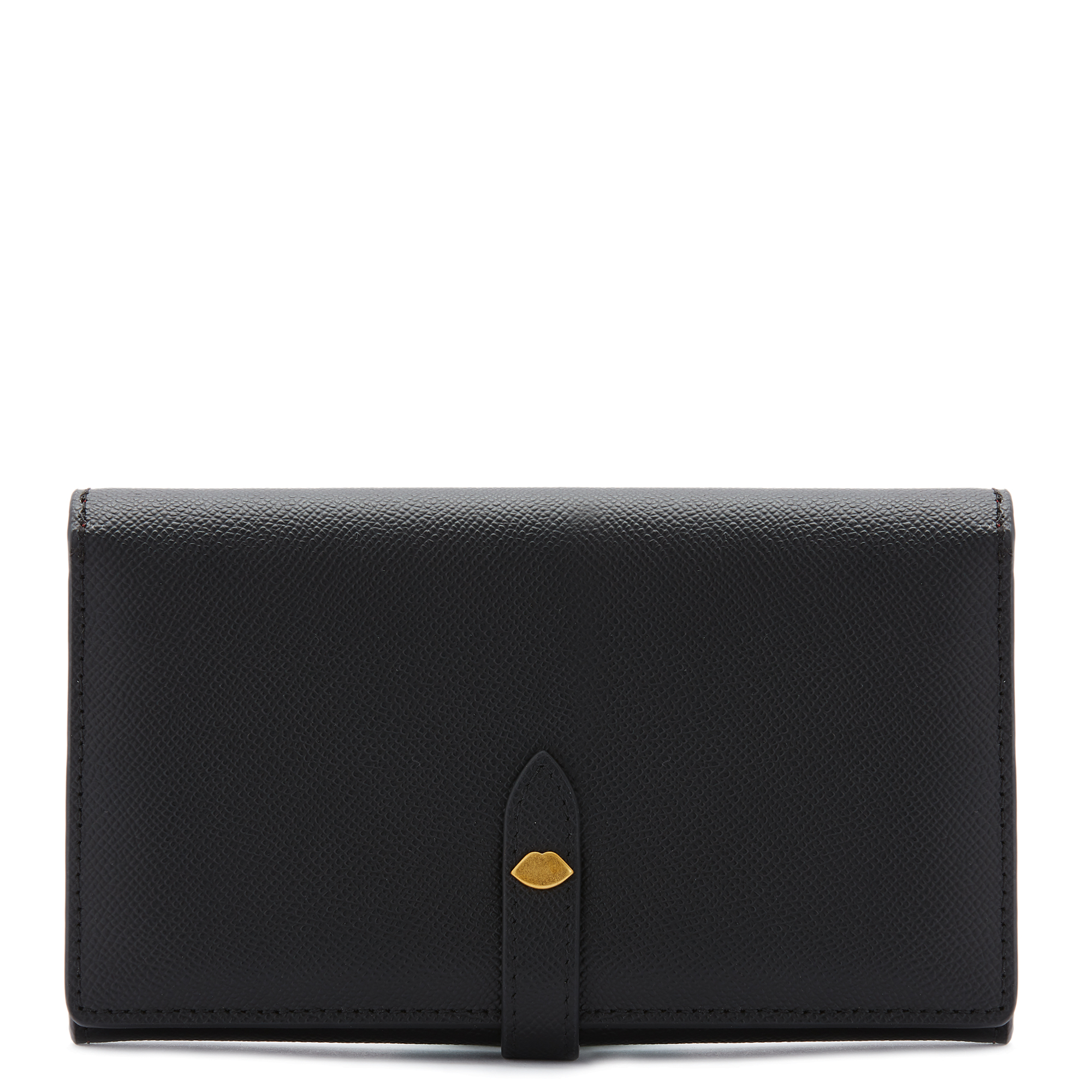 Black Leather Lip Pin Juno Wallet
