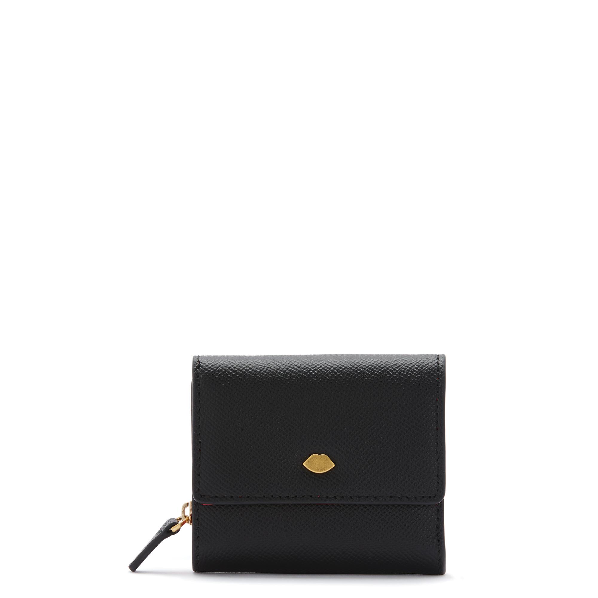 Black Leather Lip Pin Jodie Wallet