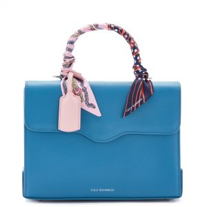 Sailor Blue Large Leather Queenie Handbag with Scarf