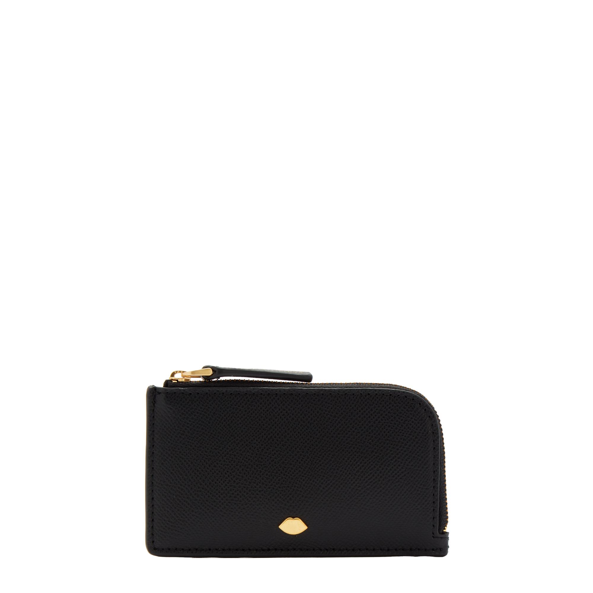 Black Leather Lip Pin Leah Wallet
