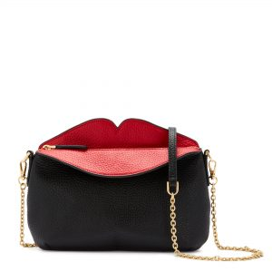Black Peekaboo Lip Cleo Crossbody Bag