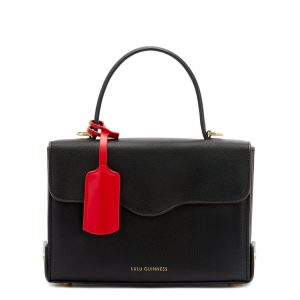 Black Leather Textured Grain Queenie Handbag