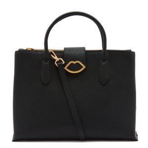 Black Leather Large Cut Out Lip Fleur Shoulder Bag