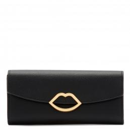 Black Leather Cut Out Lip Trisha Wallet