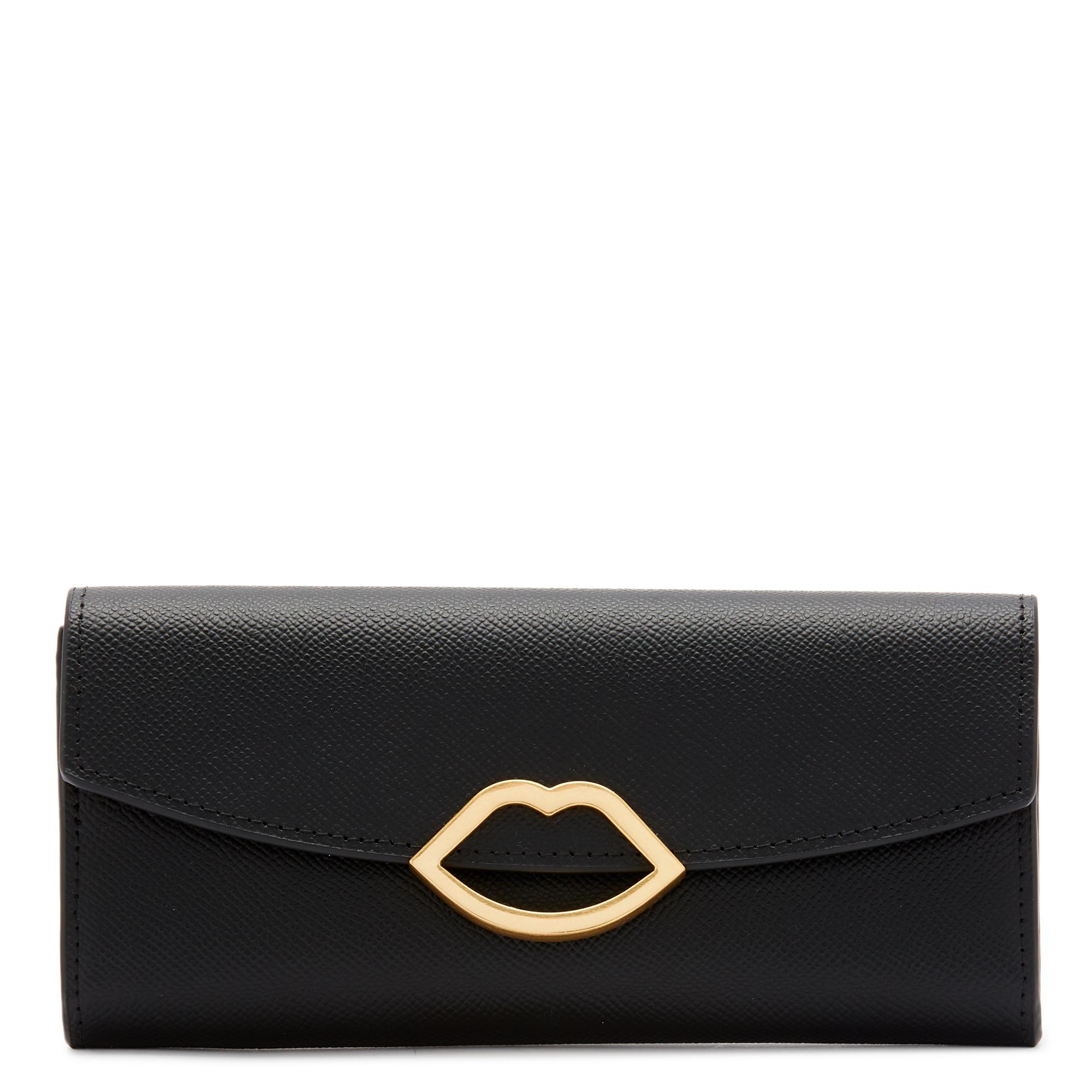 Black Leather Cut Out Lip Trisha Wallet