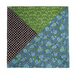 Forest/Multi Polka Spot Rose Mix Pleated Square Scarf