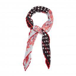 Blossom/Multi Polka Spot Leaves Mix Pleated Square Scarf