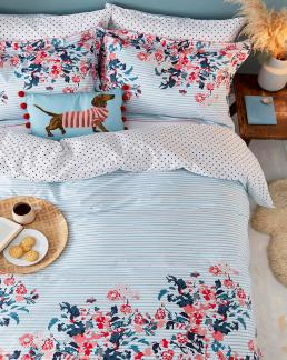 FALMOUTH FLORAL DOUBLE COVER SET BLUE