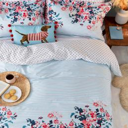 FALMOUTH FLORAL SUPER KING COVER SET BLUE