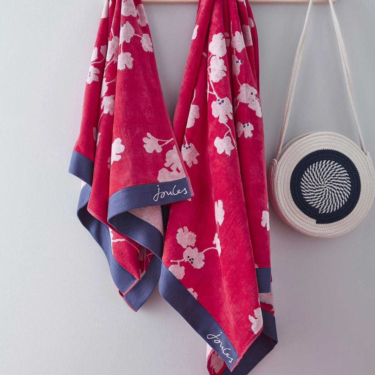PENZANCE FLORAL BEACH TOWEL RED