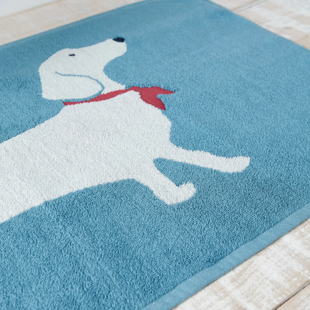 SAUSAGE DOG BATH MAT BLUE