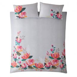 PEONY PETALS PALE GREY DOUBLE BEDSET