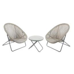 Grey Faux Rattan Folding Lounge Set