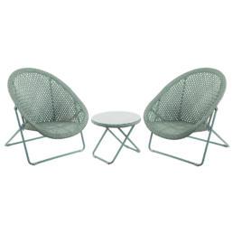 Green Faux Rattan Folding Lounge Set