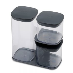 Podium 3-piece storage jar set with stand - Grey
