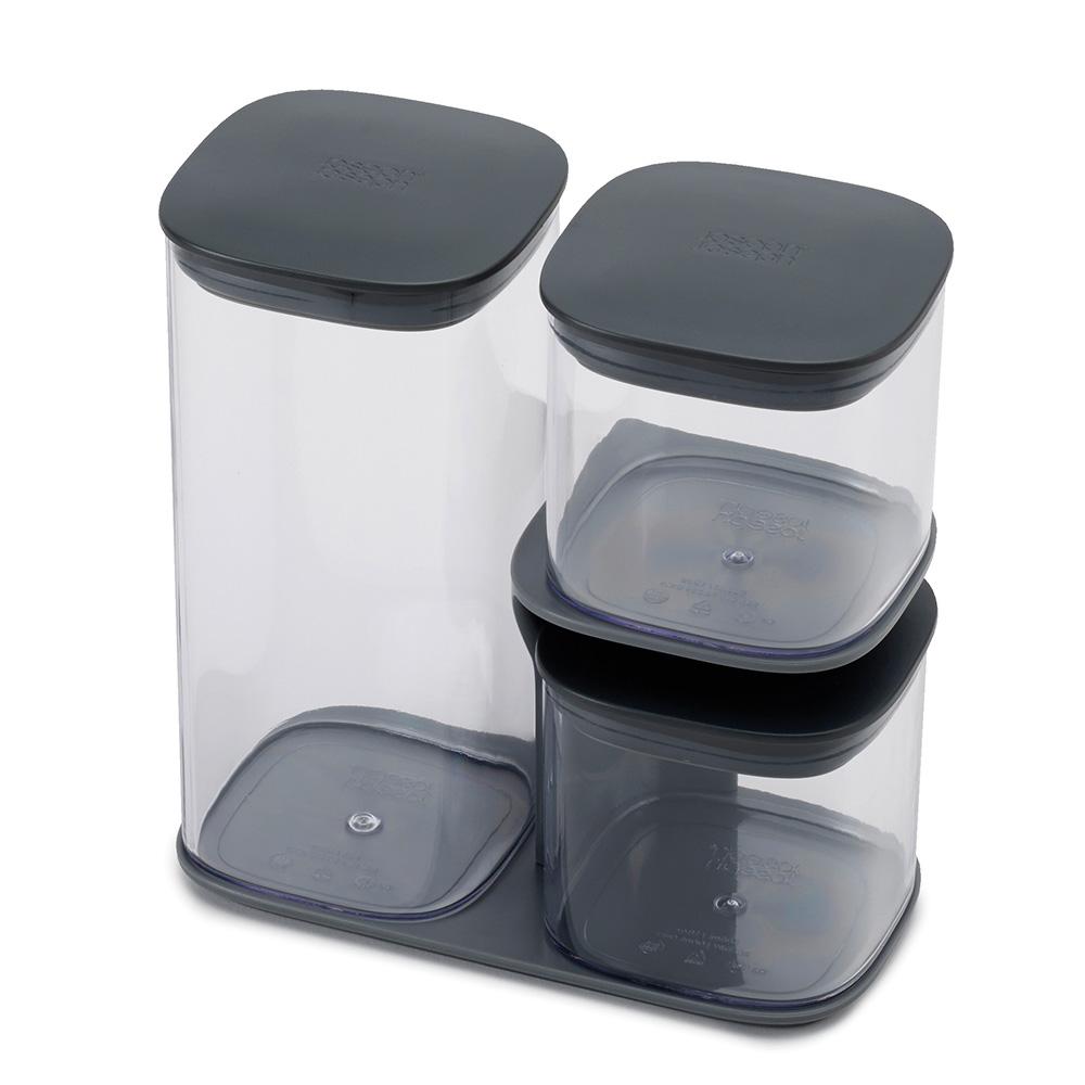 Podium 3-piece storage jar set with stand - Grey