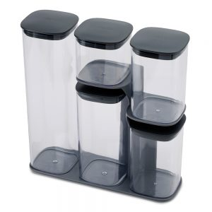 Podium 5-piece storage jar set with stand - Grey