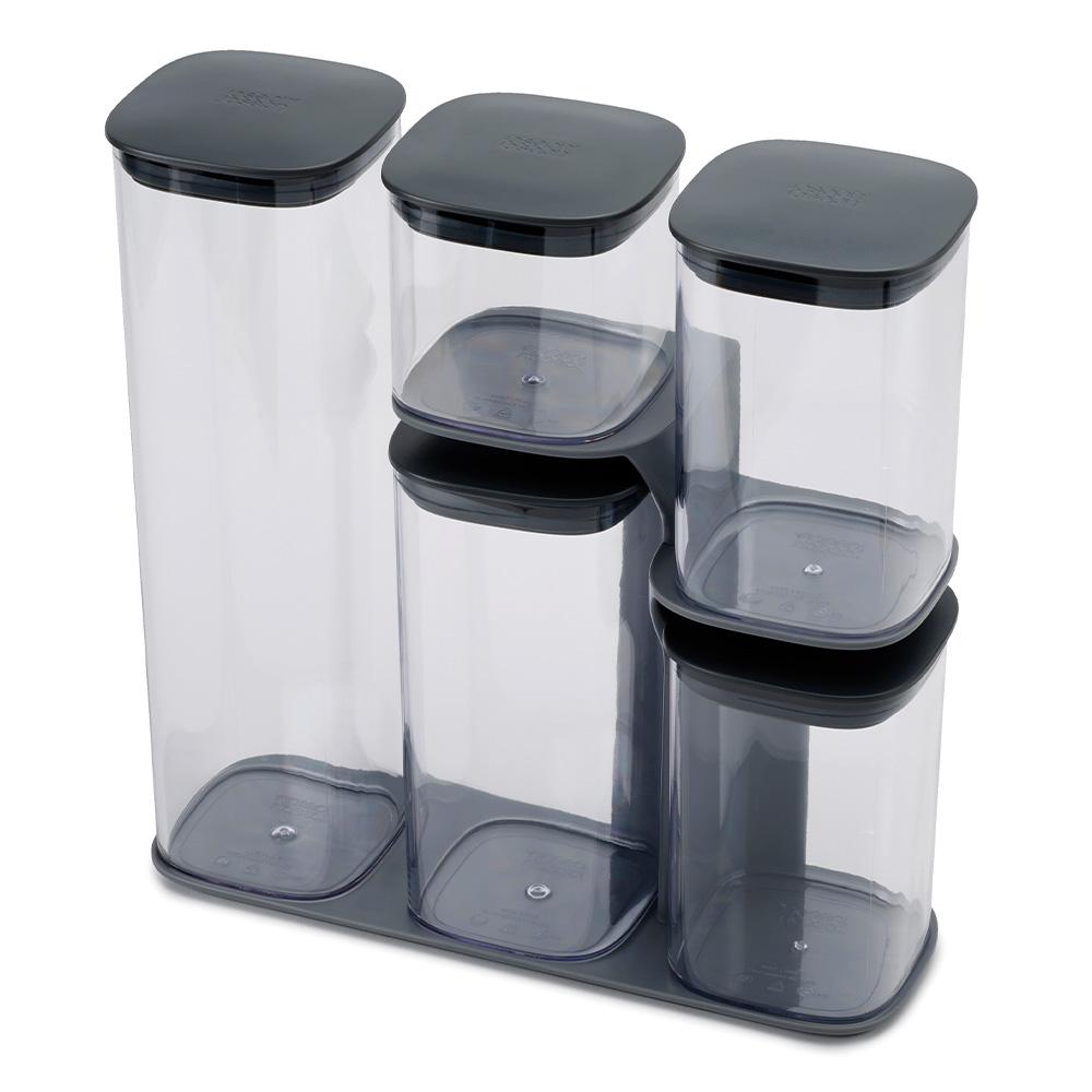 Podium 5-piece storage jar set with stand - Grey