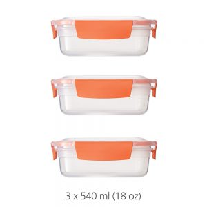 Nest Lock 3-Piece Container Set (3 x 540ml) - Orange