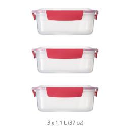 Nest Lock 3-Piece Container Set (3 x 1.1L) - Red