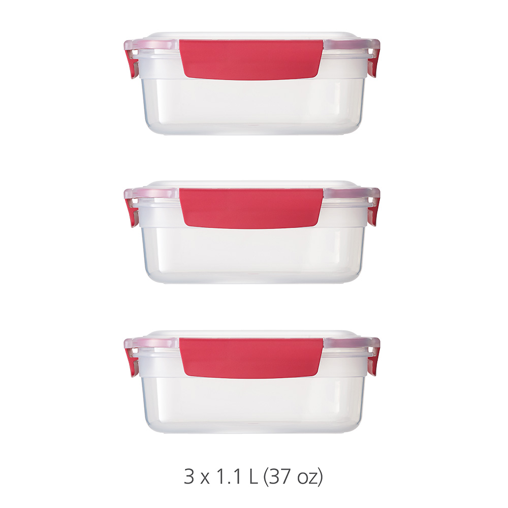 Nest Lock 3-Piece Container Set (3 x 1.1L) - Red