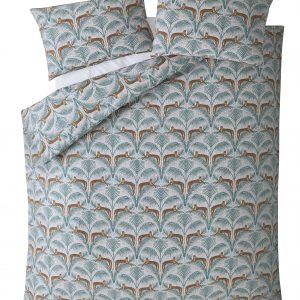LOUNGING LEOPARDS FERN GREEN SINGLE DUVET COVER